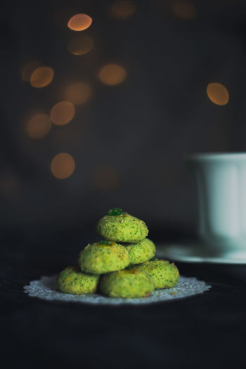 Close-up of green candies on table