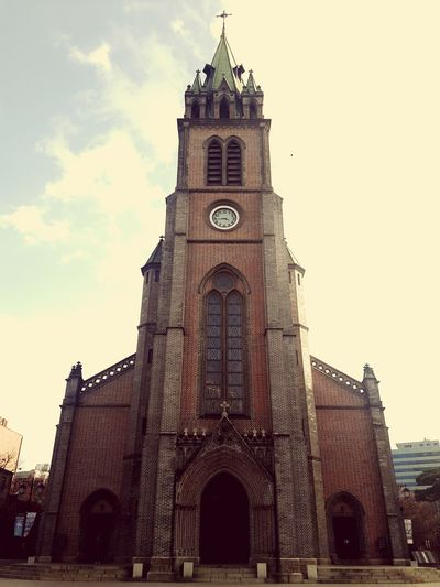 Koreatrip Myeongdong Cathedral Church Architecture Architecture Random Photography Built Structure History Religion No People Travel Destinations Korea Capture The Moment Melancholy Building Exterior