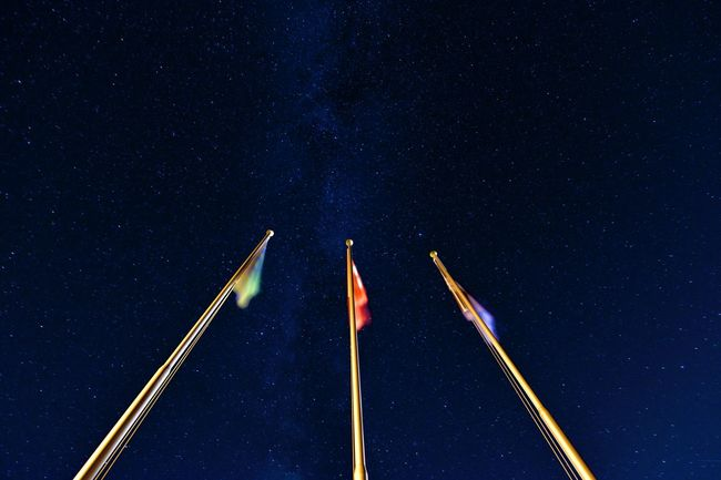 Nightphotography Milkyway Stars Flag Switzerland Starry Sky Low Angle View Flags Star Field Night Under The Milky Way