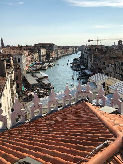 Venice Rialto Bridge Venice, Italy Water Architecture Built Structure Sky City Building Exterior Nature High Angle View Day Building No People Sunlight Outdoors Residential District Travel Destinations Cityscape Transportation Roof Roof Tile Travel