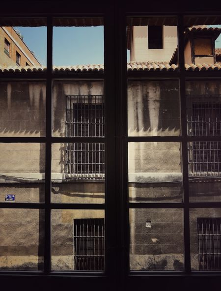 Through closed windows Security Bar Window Metal Grate Architecture Sky Building Exterior Built Structure Locked Closed