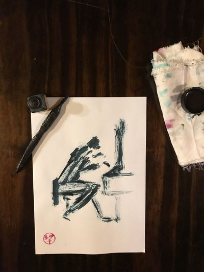 tinta china The Mobile Photographer - 2019 EyeEm Awards Sumie Tintachina Pintura Tinta Dibujo Papel Creativity Art And Craft Representation Table Indoors  Paper No People Human Representation Still Life Craft Wood - Material Close-up High Angle View Drawing - Art Product Ink Male Likeness Female Likeness Paintbrush Pen