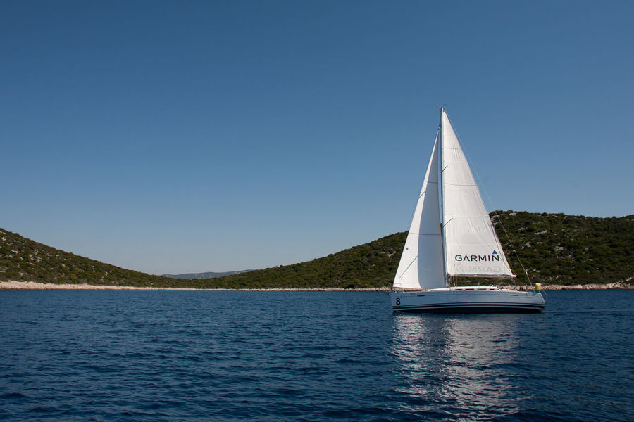 Blue Sky Blue Wave Bonaza Cloudless Kornati Panorama Sailboat Sailing Boat On The Way