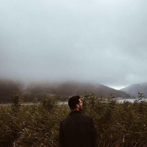 Fog Rear View Mountain Weather Lifestyles Scenics Foggy Leisure Activity Non-urban Scene Landscape Men Tree Tourism