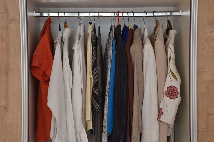 Arrangement Choice Closet Clothing Coathanger Fashion Furniture Hanging In A Row Indoors  Large Group Of Objects Multi Colored No People Order Side By Side Still Life Textile Variation