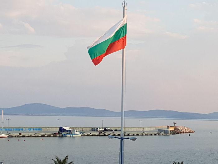 Bulgarian flag Bulgaria Bulgarian Flag EyeEm Selects Water Sea Beach Mountain Flag Sand Sky