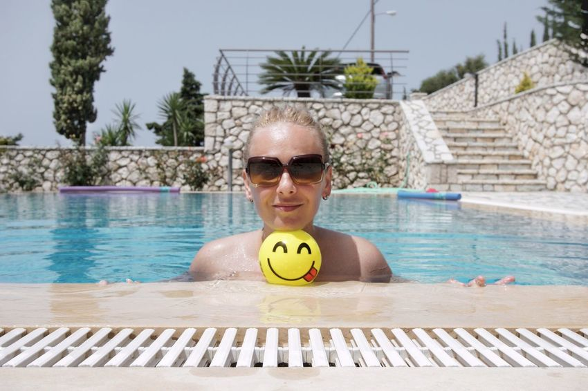 Sooon Pool Poolside Smiley Face People One Person One Woman Only Women Water Swimming Portrait Swimming Pool Palm Tree Looking At Camera Summer Smiling Relaxation Sunbathing Beach Holiday