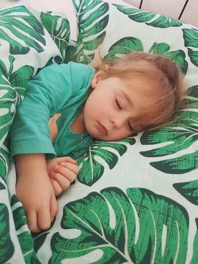 Sleeping Child One Person Children Only Innocence Green Color Sleeping Lying Down Childhood High Angle View Indoors  One Girl Only Portrait Real People Day Relaxation Children Photography Innocent Cute Adorable Bed Bedtime Love Toddler  People Headshot First Eyeem Photo EyeEmNewHere