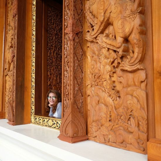 Thailand Temple Handmade Aweasome Carved Wood Thai Temple PrachuapKhiriKhan Amazing Architecture Girl Thai Girls
