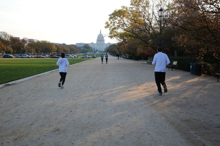 Sunrise run in Washington, DC. National Mall, Washington, DC Capital Building Morning Light Morning Running Runners JGLowe Rear View Tree Walking Full Length Real People Leisure Activity Men Lifestyles Togetherness Day Two People Nature Sky Outdoors Architecture People Adult
