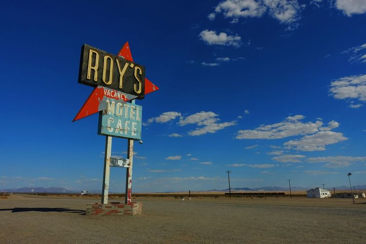 My Roadtrip! My Year My View Roadtrip Cloud - Sky Sky Outdoors Sand Day Road Sign Route 66 Oldschool Desert Roys Cafe In Amboy Gas Station EyeEmBestPics California Car Travel USAtrip USA SONYrx100m3 VSCO Clear Sky Landscape_photography Landscape HuaweiP9