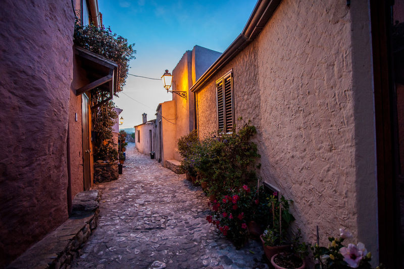 Alley amidst houses against sky