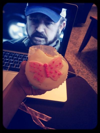 Eating the cutest cupcake ever and watching supernatural! Chilling ✌