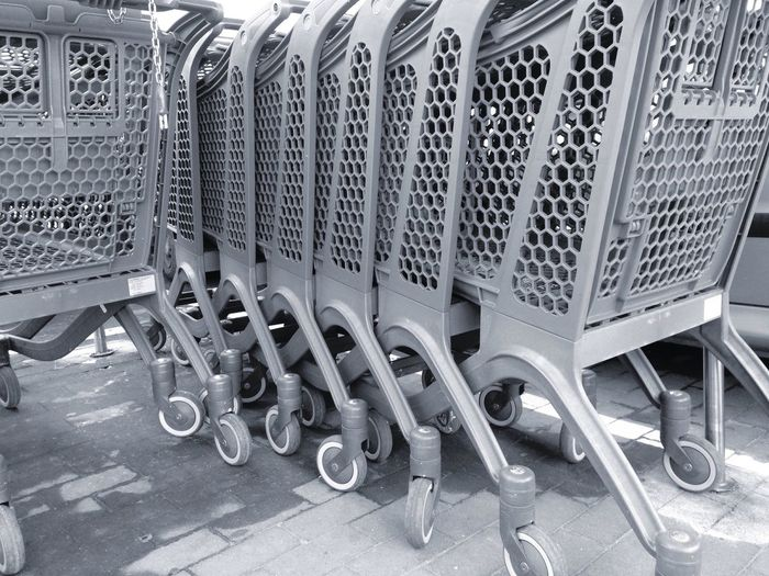 Everything In Its Place Supermarket Supermarket Scenes Blackandwhite Light And Shadow Trolley Q is for Queued.
