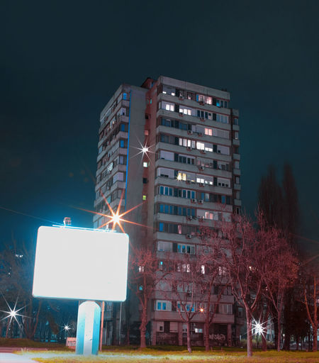 Belgrade Belgrade,Serbia Serbia Architecture Billboard Building Building Exterior Built Structure City Kevinramolla Light Long Exposure Low Angle View Night No People Novibeograd Residential District Street Tree