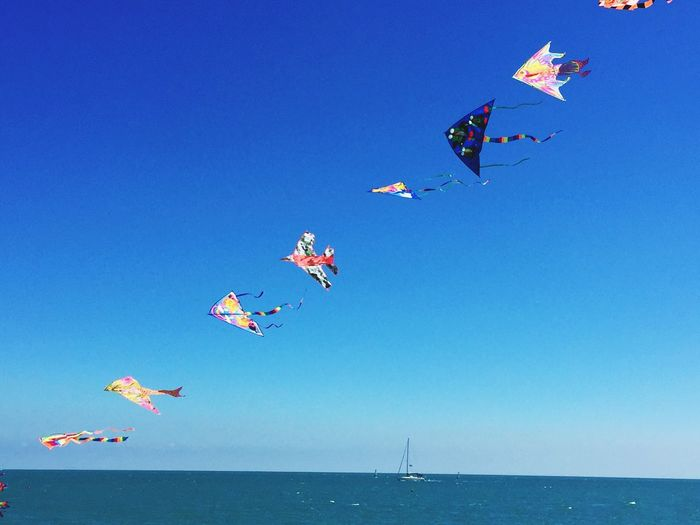 Flying Blue Clear Sky Low Angle View Sky Kite - Toy Kite Day No People Outdoors Nature Water Nautical Vessel