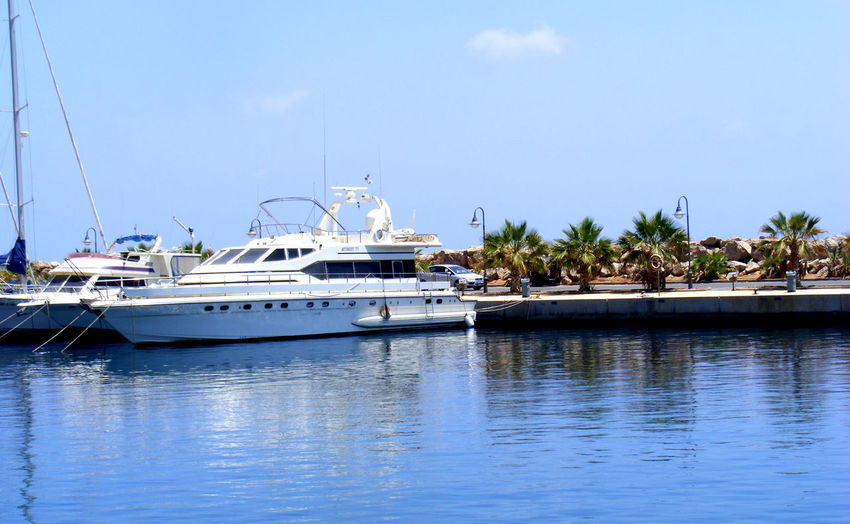 Clear Sky Day Harbor Mast Moored Nature Nautical Vessel No People Outdoors Palm Tree Sea Sky Transportation Tree Vacations Water Yacht Yachting