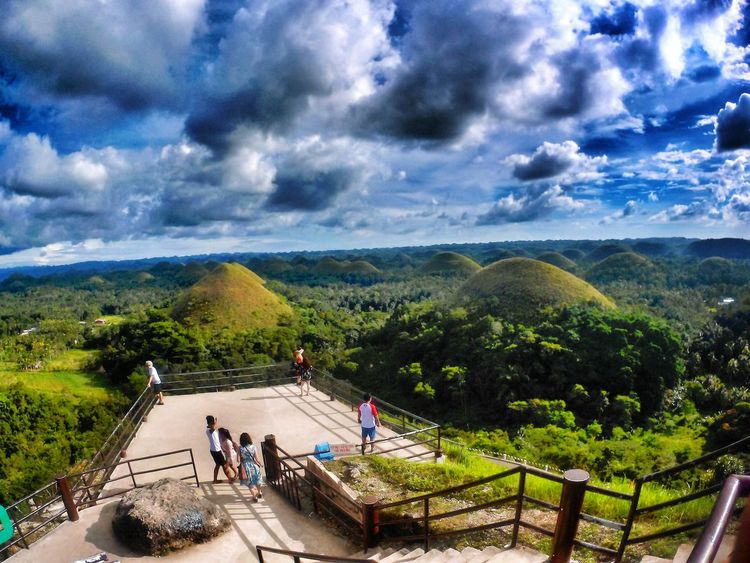 Stunning view View From Above Viewingdeck Nature Collection EyeEmBestPics EyeEm Nature Lover EyeEm Best Shots Nature Photography Nature Lover Greenery Outdoor Photography Chocolatehills It'sMoreFuninthePhilippines Cloud - Sky Sky Real People People Nature Outdoors Tree Men Women Day