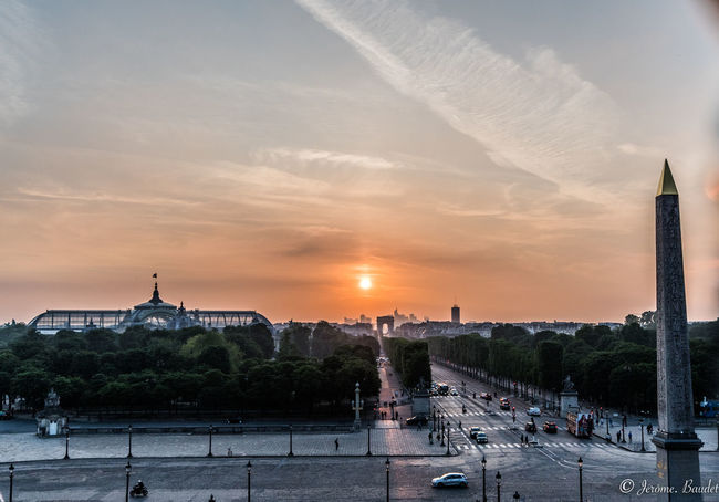 Champs-Élysées  Concorde Grand Palais Paris Paris Paris, France  Sunset_collection Architecture City Cityscape Coucher De Soleil Orange Color Place De La Concorde Sunset