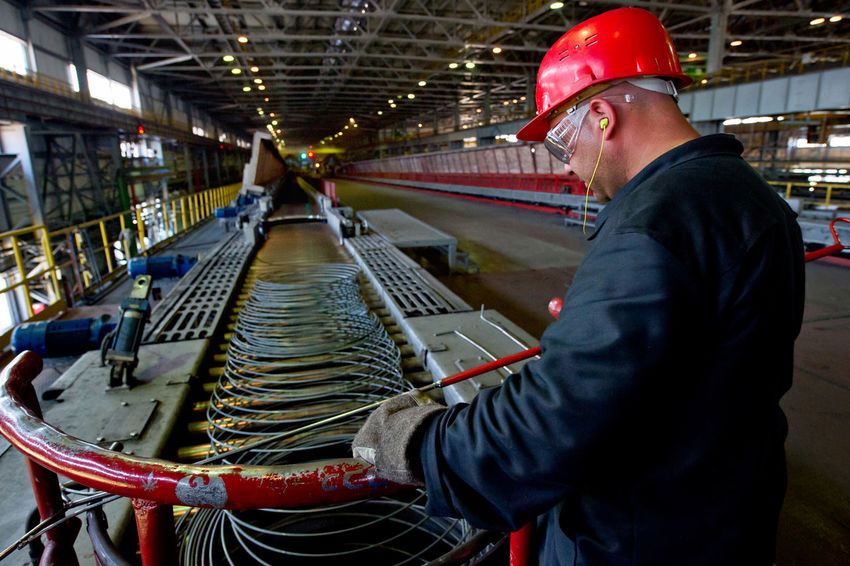 Russia, Yekaterinburg, Berezovsky metallurgical plant, manufacture of slabs, heating, packing rod Casual Clothing City Life Day Full Length Leisure Activity Lifestyles Packing Rod Russia, Yekaterinburg, Berezovsky Metallurgical Plant, Manufacture Of Slabs, Heating, Packing Rod