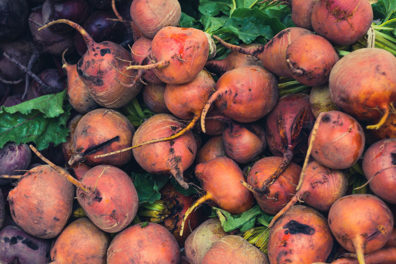 Close-up of beetroots for sale at market