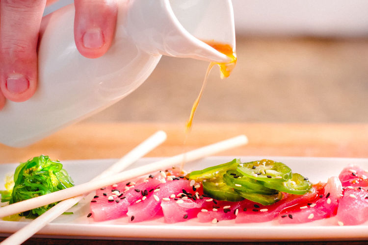 Food And Drink Food Freshness Ready-to-eat Table Plate Indoors  Close-up Human Hand Hand One Person Healthy Eating Human Body Part Wellbeing Focus On Foreground Vegetable Real People Holding Unrecognizable Person Body Part Finger Japanese Food Japanese Food