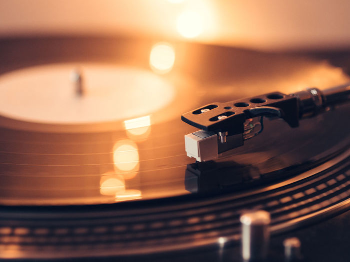 Arts Culture And Entertainment Close-up Music No People Old-fashioned Record Record Player Needle Retro Stereo Technology Turntable Vinyl Vinyl Records