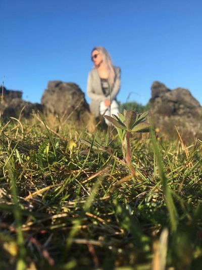Wife Plant Sky Nature Clear Sky Field Selective Focus Growth One Person Beauty In Nature Land Blue Day Real People Young Adult Leisure Activity Women Grass Lifestyles Outdoors