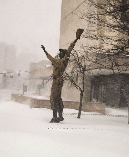 Blizzard 2016 i think he is trying to catch snow but it happened reverse Journalsquare Pathstation