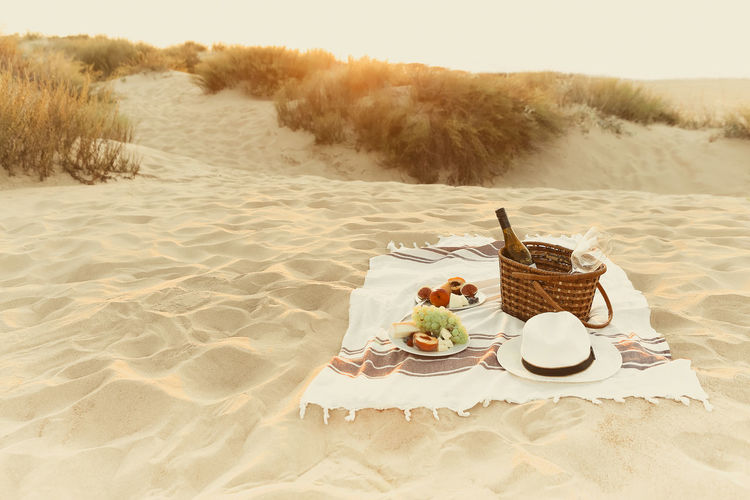 High angle view of dessert on table at beach