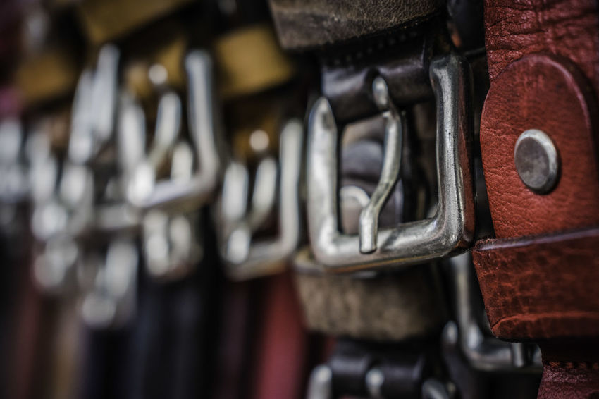 Belts in a market stall located in Peschiera del Garda Italy Leather Lifestyle Market Summertime Belt  Belts Craft Focus On Foreground Handcraft Leather Craft Lifestyles Product