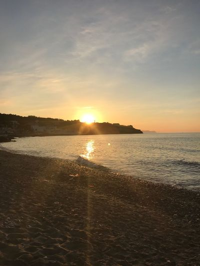 Sunset Sunset Sea Beach Scenics Water Sun Tranquility Sky Beauty In Nature Nature Tranquil Scene No People Sunlight Sand Outdoors Silhouette Horizon Over Water Nofilter Amazing View Amazing Idyllic Beauty In Nature Crete Beautiful Vacations