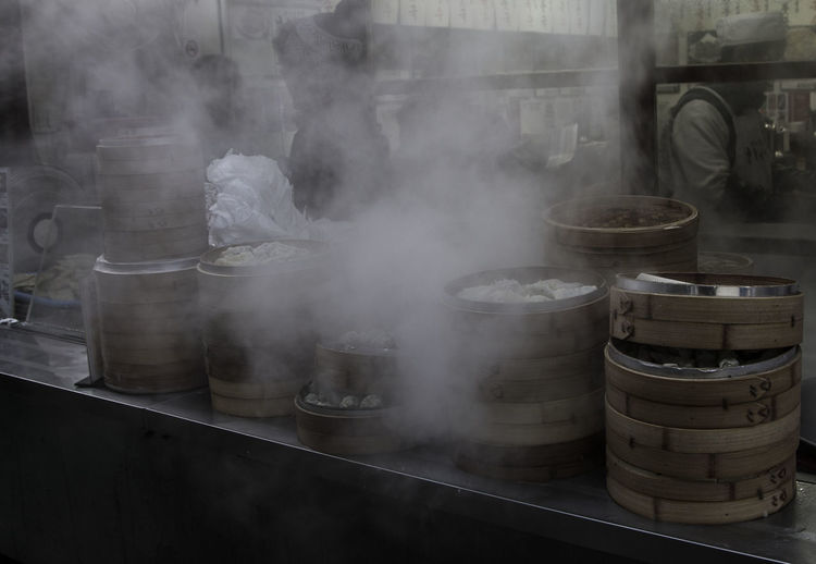 Korean Food South Korea Day Dumplings Factory Food Food And Drink Food And Drink Industry Freshness Hot Food Indoors  Industry No People Rice Cake Smoke - Physical Structure Steam Streetfood Wine Cask