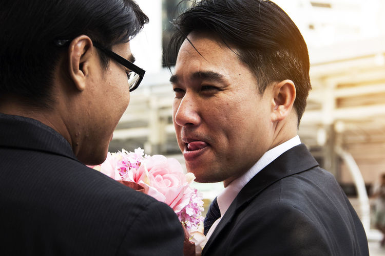 Gay couple during wedding