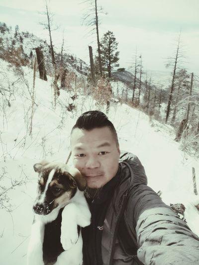 Learn & Shoot: Working To A Brief Snow ❄ Mountain View Sandia Mountains Pino Canyon Trail Albuquerque Man Best Friend