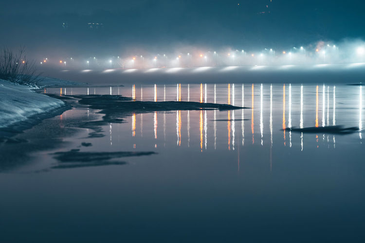 River at night Kaunas Europe Winter Lithuania Nikon Nikon Z7 Z7 River At Night River Long Exposure Night Fog Reflection Water Waterfront Tranquility Tranquil Scene Sky Illuminated No People Scenics - Nature Nature Cloud - Sky Beauty In Nature Lake Outdoors Architecture Idyllic Motion