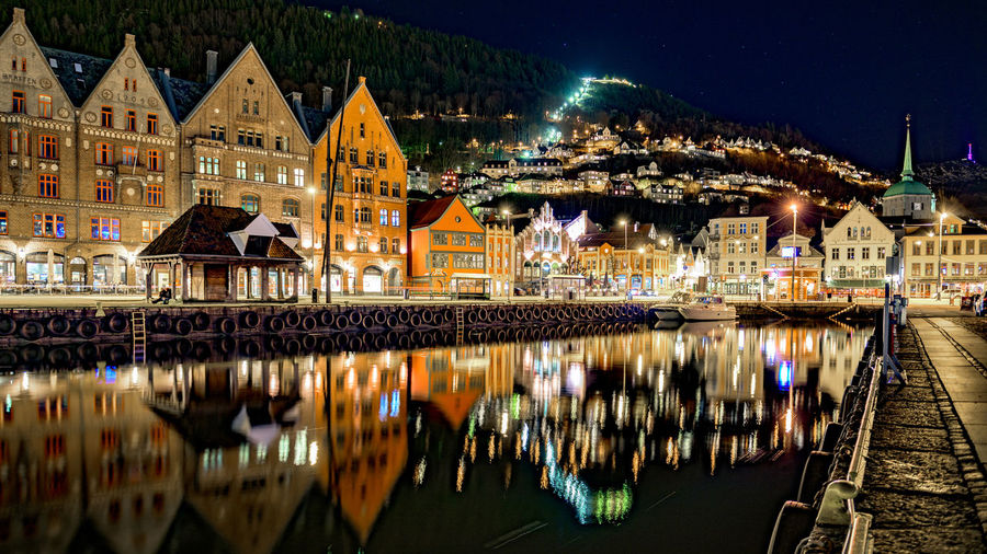 Reflection Of Illuminated Buildings In Lake