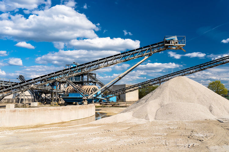 Conveyor over heaps of gravel on blue sky at an industrial cement plant.