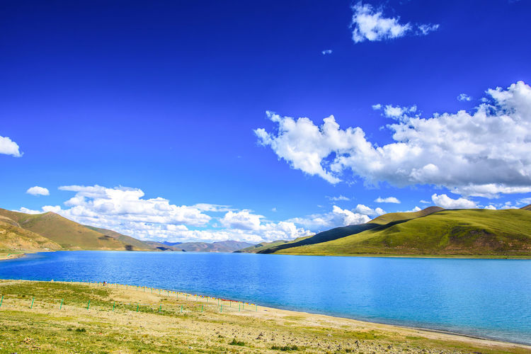 Wallpaper Water Nature Sky Blue Day Outdoors Grass Tranquility Lake Wallpaper Mountain Plant Environment Beauty In Nature No People Idyllic High Angle View Tranquil Scene Non-urban Scene Cloud - Sky High Altitude Photography Scenics - Nature Landscape