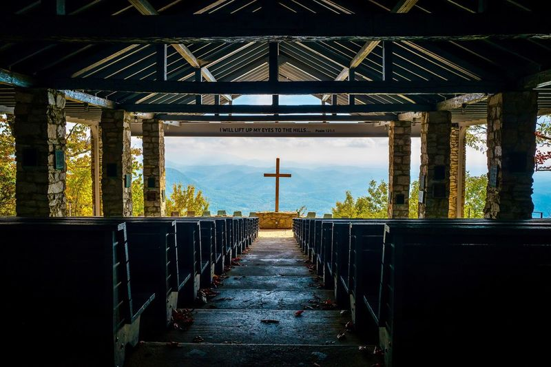 Interior of open church in the mountains