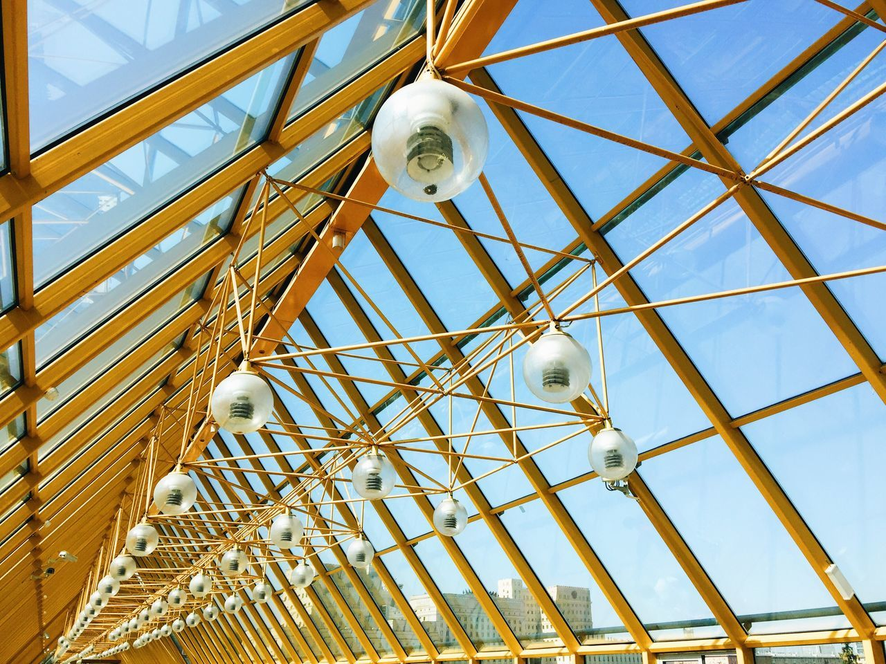 low angle view, no people, day, built structure, technology, sky, indoors, close-up, bird