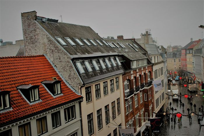 Balcony street vew Architecture Beautiful Beauty In Nature Building Exterior Built Structure Business Finance And Industry Chritsmas City Cityscape Copenhagen Cph Day House No People Outdoors Red Red Roof Sky Skyline Skyscraper Stretphotography Urban Skyline
