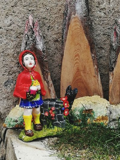 Flowers Red Carved In Wood Bad Wolf? Biancaneve Full Length Statue