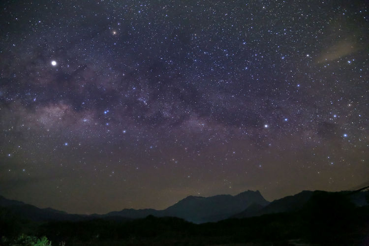 Sky Beauty In Nature Night Scenics - Nature Tranquility Star - Space Mountain Space No People Tranquil Scene Nature Astronomy Galaxy Outdoors Mountain Range Silhouette Landscape Star Idyllic Majestic Milky Way
