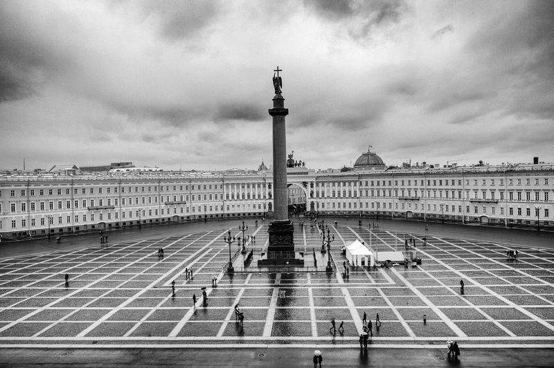 Rainy Day in Saint Petersburg Alexander Column Architectural Column Architecture Blackandwhite Building Exterior Built Structure City City Life Cloud - Sky Cloudy Column Famous Place International Landmark Outdoors Palace Rain Russia Saint Petersburg Sky Square Tourism Tourist Travel Destinations