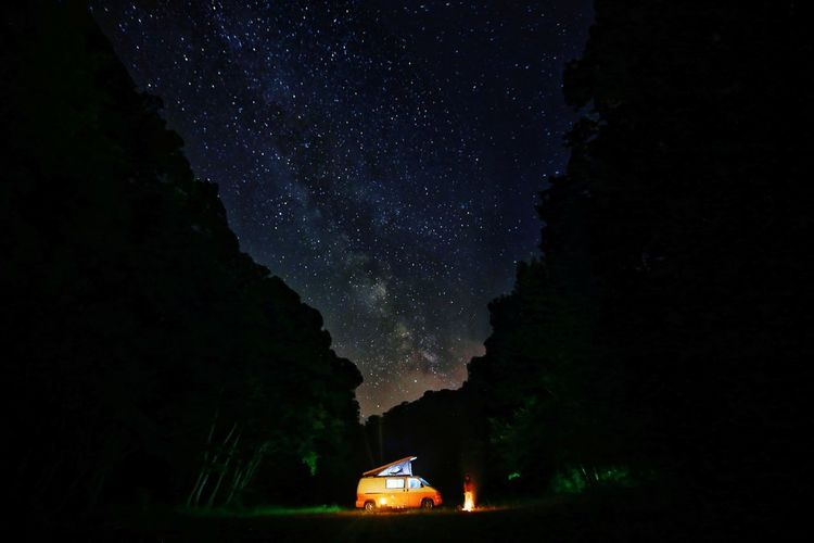 Van Life and Milkyway Nature Vanlife Astronomy Galaxy Milky Way Star - Space Tree Space Mountain Constellation Science Astrology Sign Space And Astronomy Camping Campfire