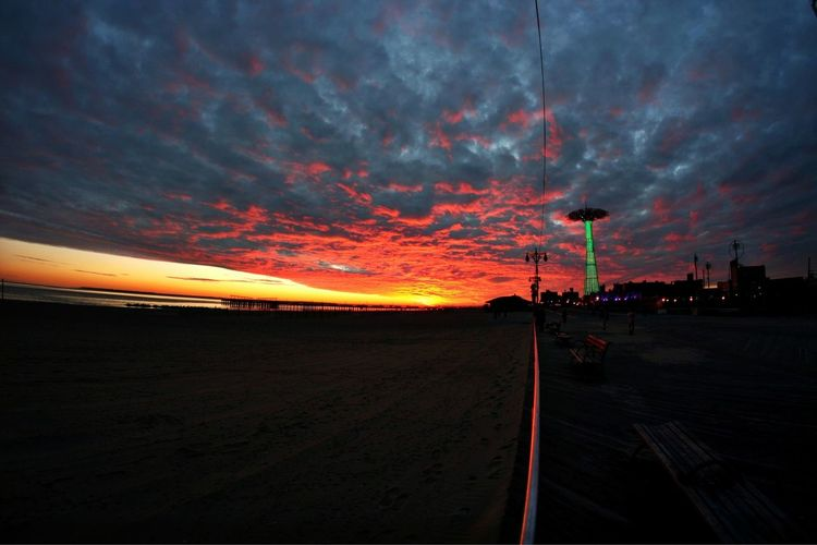 Fire starter skies Atmosphere Atmospheric Mood Beach Brooklyn Cloud Coney Island Clouds Life From Where I Stand Fisheye Glowing Journey Learn & Shoot: After Dark Majestic Night Photography Nightshot Outdoors Overcast Scenics Sky Sunset The Changing City Tranquil Scene Winter