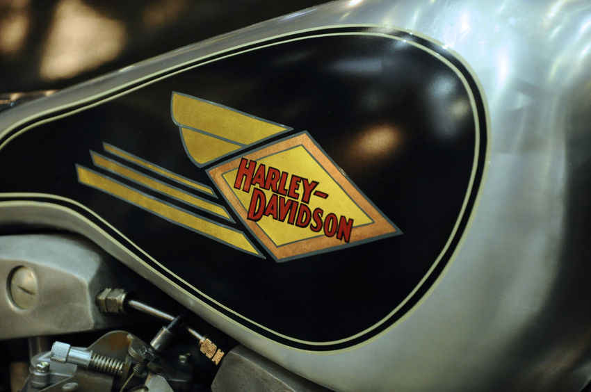 design of Harley-Davidson motorcycle logos printed at the motorcycle. Some of the logo was costume made by owner. American Creativity Easy Rider Harley Davidson Logo Machine Motorcycle Motorcyclist Rider Transportation USA Brand Chopper Chrome Custom Custom Bikes Design Emblem  Engine Manual Manual Handling Motorbike Ride Speed Street Bike