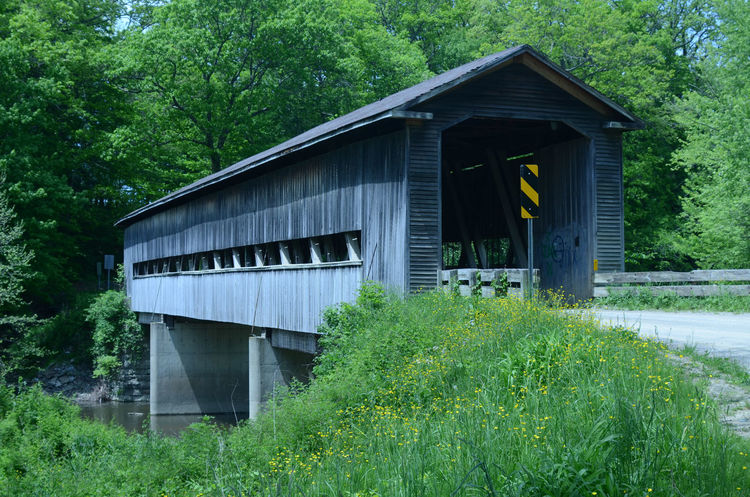 Liberty one lane covered bridge built in 1868 on rural road over creek in rural Ohio Architecture Covered Bridge Day Interior Nature No People Outdoors Tree Wood - Material Wood Structure