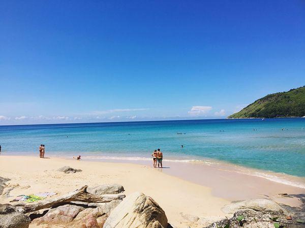 Beautiful Beach Blue Thailand Phuket Rawai Couple Sky Blue Sky Love Lover Happieness Enjoying Life Relaxing Swimming Hot Nai Harn Beach  🐳